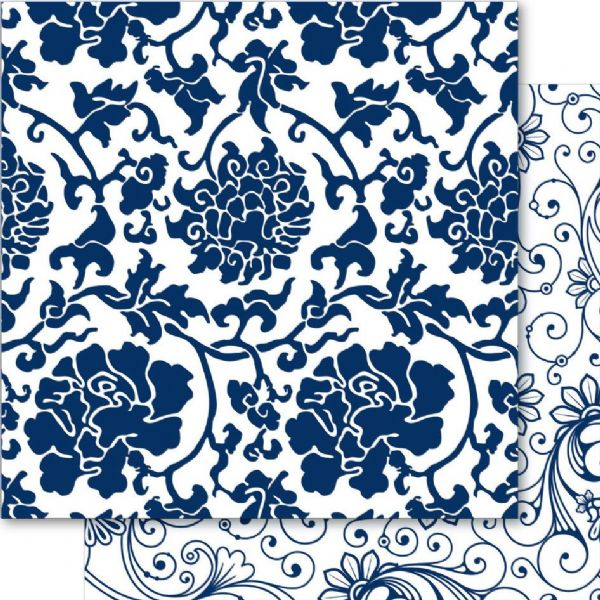China Blue 12x12 Cardstock May Blossom